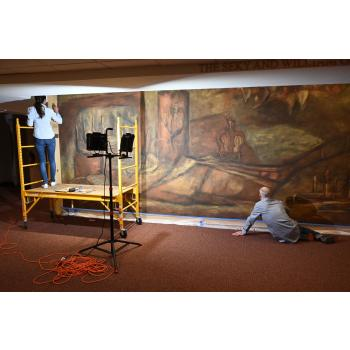 Restoration of Joseph Friebert mural at Congregation Shalom