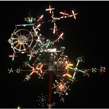 Vollis Simpson Whirligigs at Night, photograph courtesy of Juan Logan