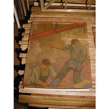 Workers Mural before conservation